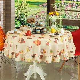 Toalha de Mesa Redonda 160cm - Cupcakes Bege - Dui Design