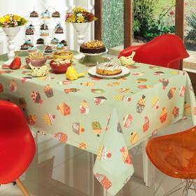 Toalha de Mesa Quadrada 4 lugares 140x140cm - Cupcakes Verde - Dui Design