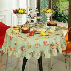 Toalha de Mesa Redonda 160cm - Cupcakes Verde - Dui Design