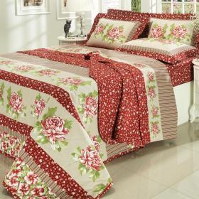 Kit: 1 Cobre-leito Casal + 2 Porta-travesseiros 150 fios - Dara Vermelho - Dui Design