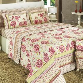 Kit: 1 Cobre-leito Queen + 2 Portas-travesseiro 150 fios - Darcy Vermelho - Dui Design