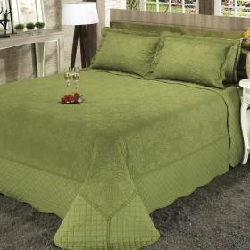 Kit: 1 Cobre-leito Casal Bouti Bordada de Microfibra + 2 Porta-travesseiros - Dhara Verde Oliva - Dui Design