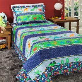 Kit: 1 Cobre-leito Solteiro Kids Bouti de Microfibra PatchWork + 1 Porta-travesseiro - Dino Azul - Dui Design