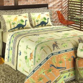 Kit: 1 Cobre-leito Solteiro + 1 Porta-travesseiro 150 fios - Dino Safari - Dui Design