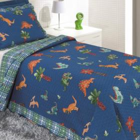 Kit: 1 Cobre-leito Bouti Solteiro Kids + 1 Porta-travesseiro Microfibra - Dinos - Kacyumara