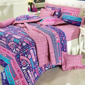 Kit: 1 Cobre-leito Casal + 2 Portas-travesseiro 150 fios - Diva Purpura - Dui Design