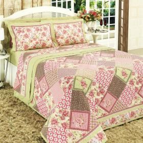 Enxoval Queen com Cobre-leito 7 pe�as 150 fios - Domenica Rosa - Dui Design