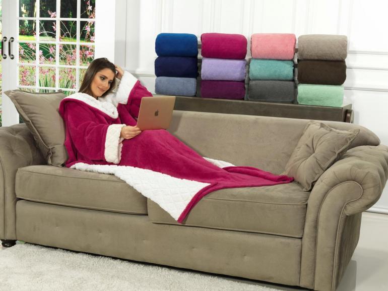 Cobertor com mangas de sof com efeito pele de carneiro for Cobertor para sofa