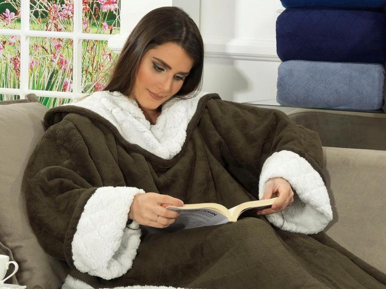 Cobertor com mangas de sof avulso com efeito pele de for Cobertor para sofa