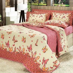 Kit: 1 Cobre-leito King + 2 Porta-travesseiros Percal 200 fios - Dora Vermelho - Dui Design