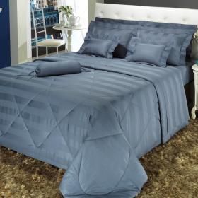 Edredom King Cetim de Algod�o 300 fios - Duo Azul �ndigo - Dui Design