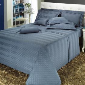 Kit: 1 Cobre-leito King + 2 porta-travesseiros Cetim 300 fios - Duo Azul �ndigo - Dui Design