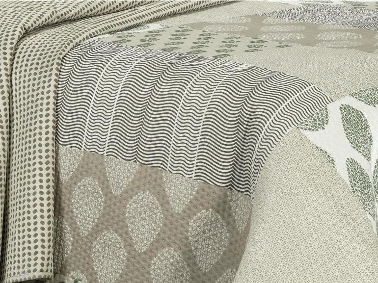 Kit: 1 Cobre-leito Queen Bouti de Microfibra Ultrasonic Estampada + 2 Porta-travesseiros - Ebony Castanho - Dui Design
