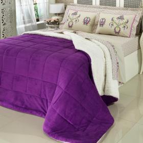 Edredom Queen Plush e Pele de Carneiro - Sherpa Madrid Violeta - Dui Design