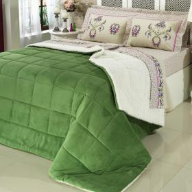 Edredom Queen Plush e Pele de Carneiro - Sherpa Madrid Verde - Dui Design