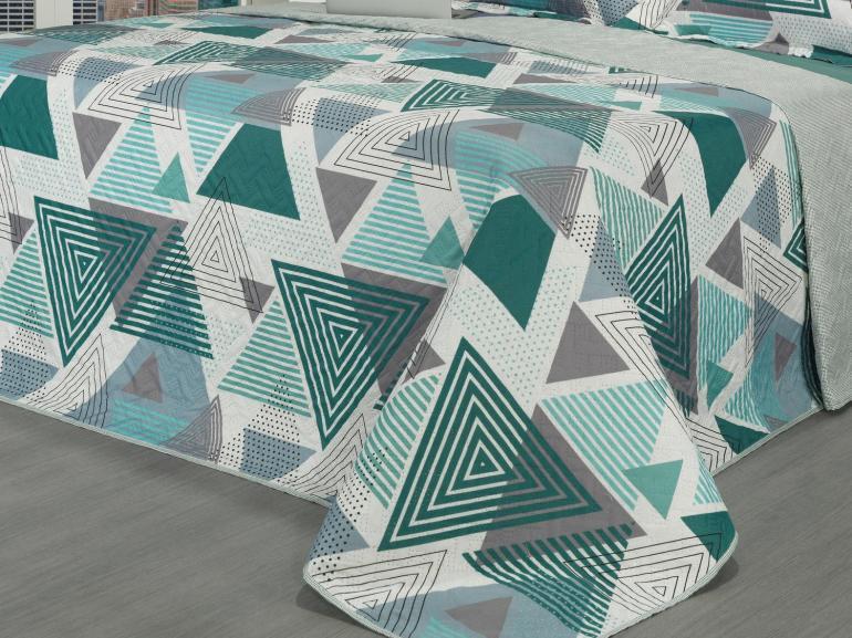 Kit: 1 Cobre-leito Casal Bouti de Microfibra Ultrasonic Estampada + 2 Porta-travesseiros - Ekin Grafite e Verde - Dui Design