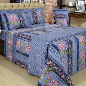 Kit: 1 Cobre-leito Casal + 2 Portas-travesseiro 150 fios - Elana Azul - Dui Design