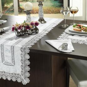 Trilho de Mesa com Bordado Guipir F�cil de Limpar 45x170cm - Elegance Branco - Dui Design