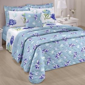 Kit: 1 Cobre-leito Solteiro + 1 Porta-travesseiro 150 fios - Emanuelle Azul - Santista