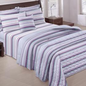 Kit: 1 Cobre-leito Casal + 2 Porta-travesseiros 150 Fios - Erick Azul - Santista