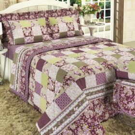 Kit: 1 Cobre-leito Queen + 2 Portas-travesseiro 150 fios - Esperanza Rubi - Dui Design