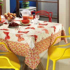 Toalha de Mesa com Barra Aplicada Retangular 6 Lugares 160x220cm - Farfalla Vermelho - Dui Design