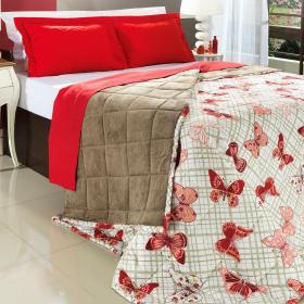 Cobredom Casal  Plush - Farfalla Vermelho - Dui Design