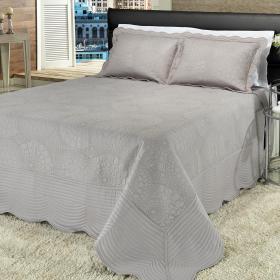Kit: 1 Cobre-leito King Bouti Bordada de Microfibra + 2 Porta-travesseiros - Ferrara Prata - Dui Design