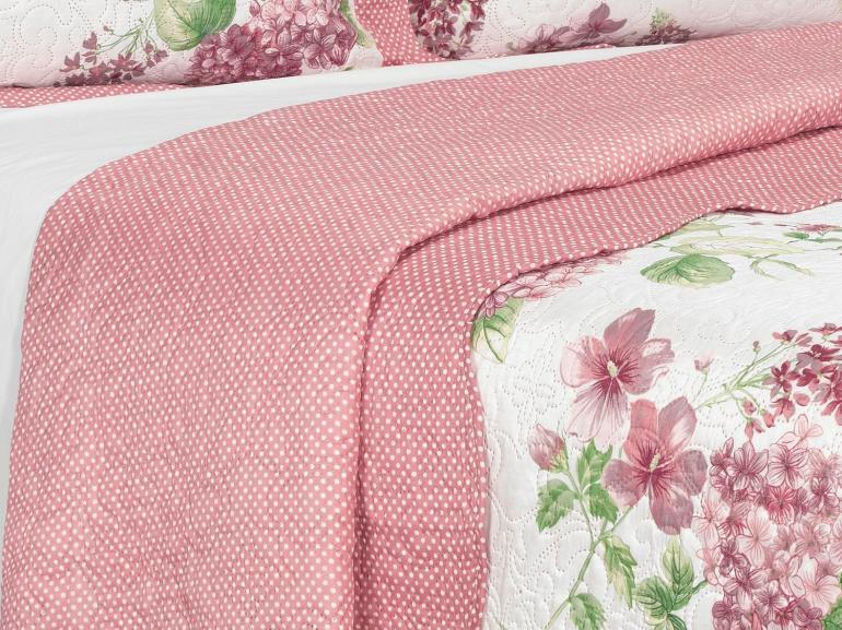 Kit: 1 Cobre-leito Casal Bouti de Microfibra Ultrasonic Estampada + 2 Porta-travesseiros - Fiorentina Rosa - Dui Design