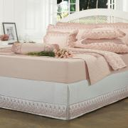 Saia para cama Box Matelassada com Bordado Inglês Casal - Florata Branco e Rosa - Dui Design