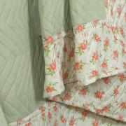 Kit: 1 Cobre-leito Casal Bouti de Microfibra Ultrasonic Estampada + 2 Porta-travesseiros - Florisa Verde - Dui Design