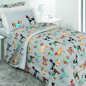Kit: 1 Cobre-leito Solteiro Kids + 1 Porta-travesseiro 150 fios - Friends - Kacyumara