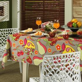 Toalha de Mesa Quadrada 4 lugares 140x140cm - Frutas Multicor - Dui Design