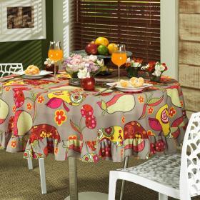 Toalha de Mesa Redonda 160cm - Frutas Multicor - Dui Design