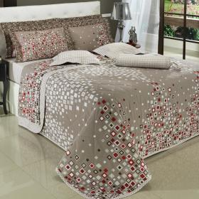Enxoval Queen com Cobre-leito 7 pe�as Percal 200 fios - Futura Camur�a - Dui Design