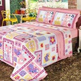 Kit: 1 Cobre-leito Solteiro + 1 Porta-travesseiro Percal 200 fios - Gatinho Rosa - Dui Design