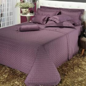 Kit: 1 Cobre-leito King + 2 porta-travesseiros Cetim 300 fios - Genebra Uva - Dui Design