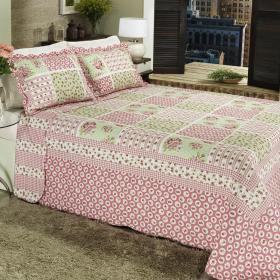 Kit: 1 Cobre-leito Casal Bouti de Algod�o PatchWork + 2 Porta-travesseiros - Gigi Rosa - Dui Design