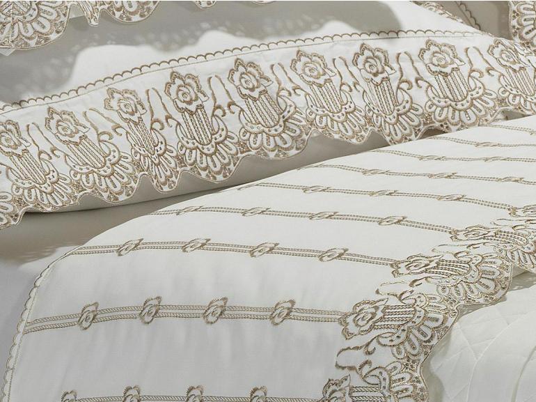 Jogo de Cama Casal Cetim de Algodão 300 fios com Bordado Inglês - Glamour Fundo Branco e Bordado Areia - Dui Design