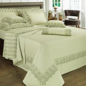 Kit: 1 Cobre-leito King + 2 porta-travesseiros Cetim de Algod�o 300 fios com Bordado Ingl�s - Glamour Herbal - Dui Design