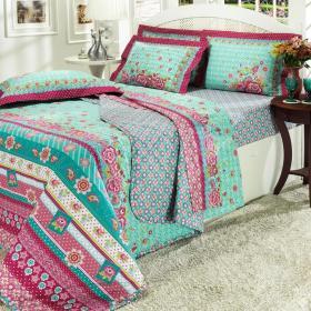 Kit: 1 Cobre-leito Casal + 2 Portas-travesseiro 150 fios - Glorinha Lil�s - Dui Design