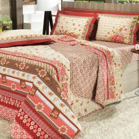 Kit: 1 Cobre-leito Casal + 2 Portas-travesseiro 150 fios - Glorinha Vermelho - Dui Design