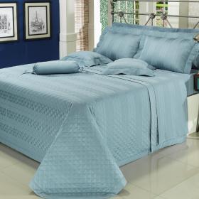 Enxoval Casal com Cobre-leito 7 pe�as Cetim 300 fios - Gothan Azul - Dui Design