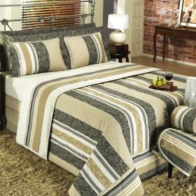 Kit: 1 Cobre-leito Casal + 2 Porta-travesseiros Percal 200 fios - Granada Marrom - Dui Design