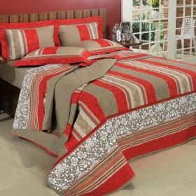 Kit: 1 Cobre-leito Casal + 2 Porta-travesseiros Percal 200 fios - Granada Vermelho - Dui Design