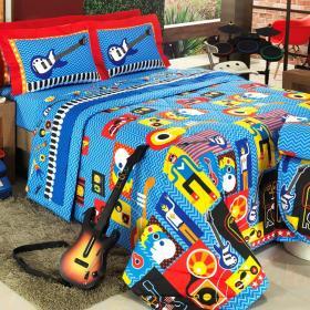 Kit: 1 Cobre-leito Solteiro + 1 Porta-travesseiro Percal 200 fios - Guitar Azul - Dui Design