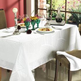 Toalha de Mesa F�cil de Limpar Quadrada 4 Lugares 160x160cm - Hannover Branco - Dui Design