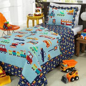Kit: 1 Cobre-leito Solteiro Kids Bouti de Microfibra PatchWork Ultrasonic + 1 Porta-travesseiro - Happy Day Azul - Dui Design