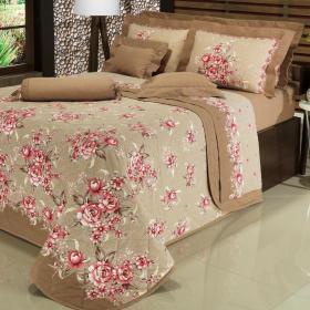 Kit: 1 Cobre-leito Solteiro + 1 Porta-travesseiro 150 fios - Janeth Rosa - Dui Design