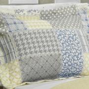Kit: 1 Cobre-leito Queen Bouti de Microfibra Ultrasonic Estampada + 2 Porta-travesseiros - Jaque Azul - Dui Design
